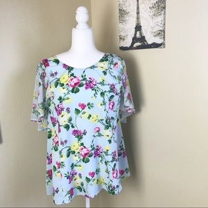 Lane Bryant light blue floral blouse size 18